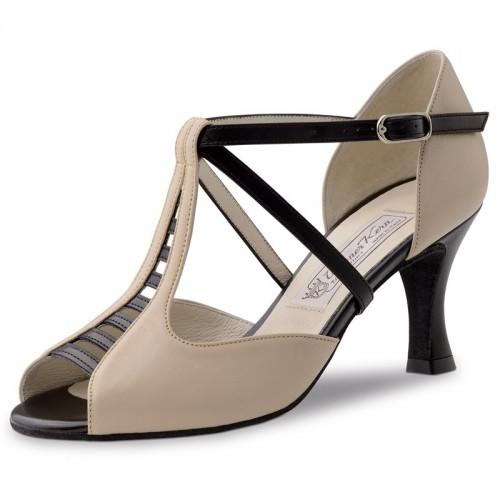 "Chaussures de danse Werner Kern ""Holly"" 6,5 cm cuir noir et beige"