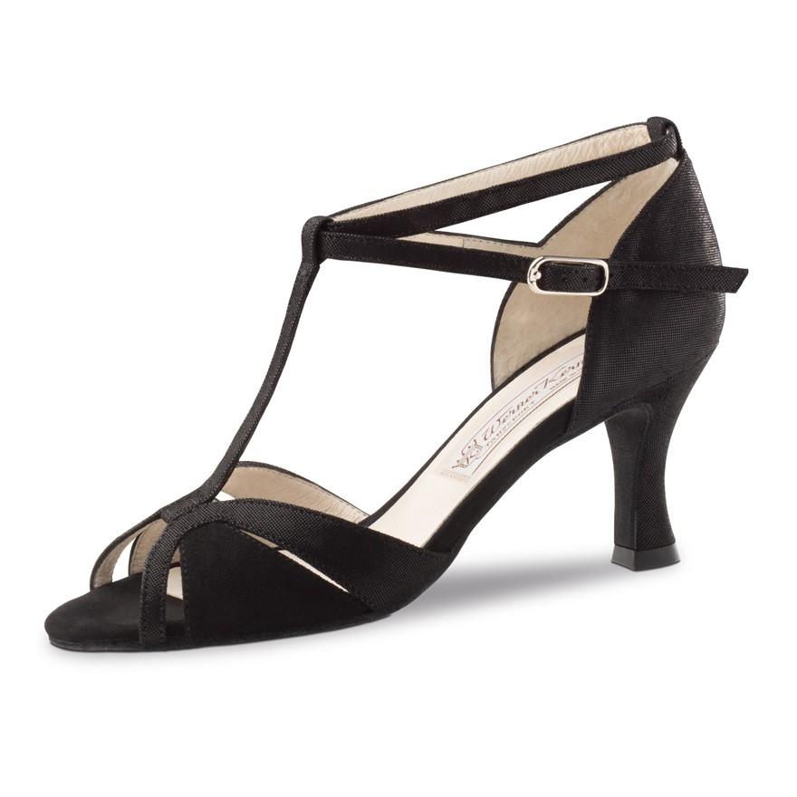 """Chaussures de danse Werner Kern """"Ida"""" 6,5 cm daim noir et cuir imitation peau de lézard"""