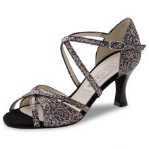 "Chaussures de danse Werner Kern ""July"" 6,5 cm broca argent multicolor et cuir noir vernis"