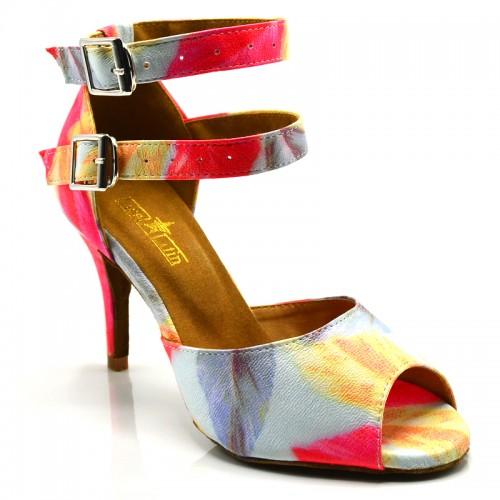 "Chaussures de danse Label Latin ""Carina fleurie"" similii cuir imprimé fleuri"