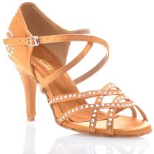 "Chaussures de danse salsa Label Latin ""Dalia"" Satin tan et strass"