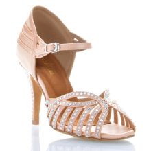 "Chaussures de danse Label Latin ""Debra"" satin tan flesh et strass"