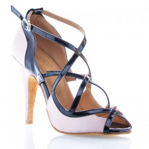 """Chaussures de danse Label Latin """" Sheila"""" simili cuir noir vernis et satin beige"""