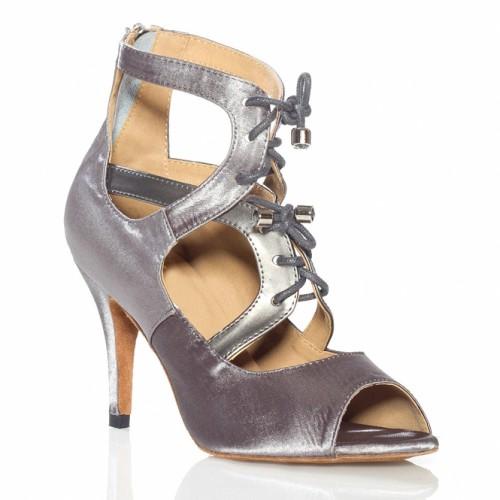 """Chaussures de danse Label Latin """"So boot"""" satin argent"""