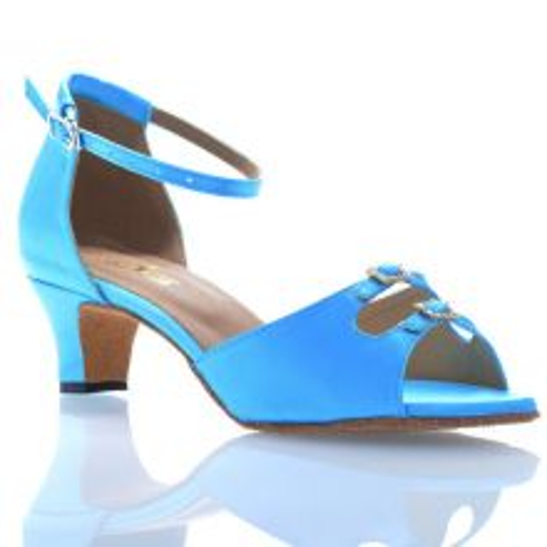 "Chaussures de danse Label Latin ""Strass"" satin bleu turquoise"