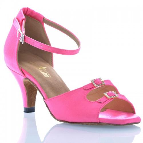 "Chaussures de danse Label Latin ""Strass"" satin rose"