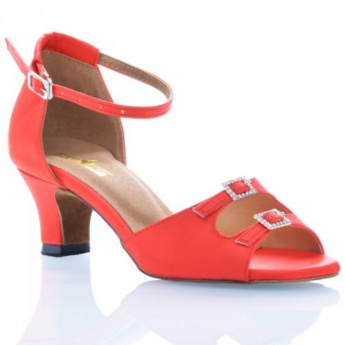 "Chaussures de danse Label Latin ""Strass"" satin rouge"