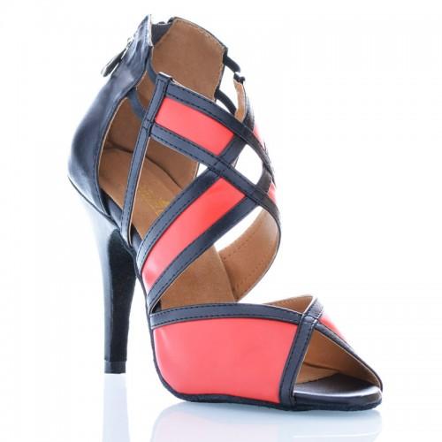 """Chaussures de danse Label Latin """"Tamara"""" simili cuir rouge et noir"""