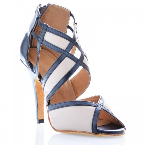 "Chaussures de danse kizomba Label Latin "" Tamara"" Simili cuir noir et beige"
