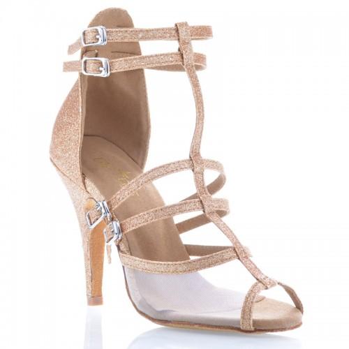 "Chaussures de danse Label Latin "" Tina"" Glitter or et tulle"