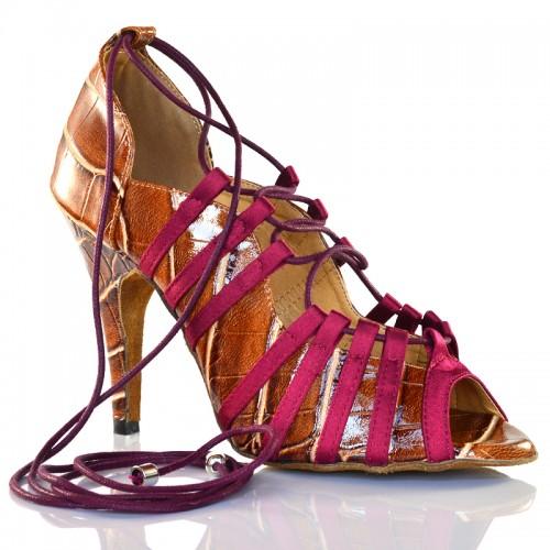 "Chaussures de danse Label Latin ""Toya"" simili cuir imitation croco marron"