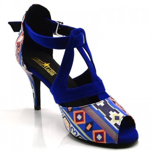 """Chaussures de danse Label Latin """" Twila"""" simili cuir wax et velours bleu"""