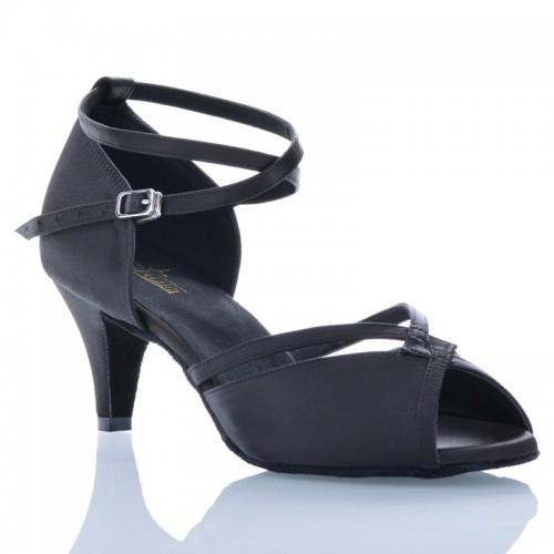 "Chaussures de danse Label Latin ""Varda"" satin noir"