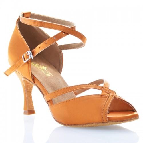 "Chaussures de danse Label Latin ""Varda"" satin tan"