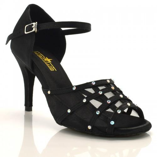 "Chaussures de danse Label Latin ""Vera"" satin noir et strass"