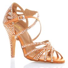 "Chaussures de danse salsa Label Latin ""Wanda"" Satin tan et strass"
