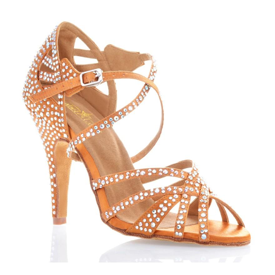 "Chaussures de danse salsa Label Latin ""Wanda"" Satin tan et strass"