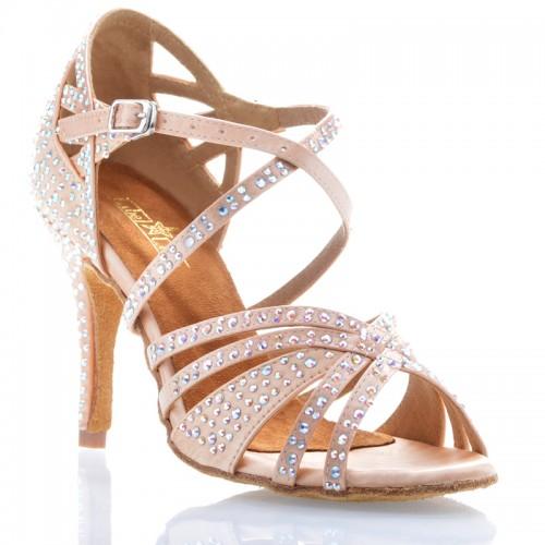 "Chaussures de danse Label Latin ""Wanda"" satin tan flesh et strass"