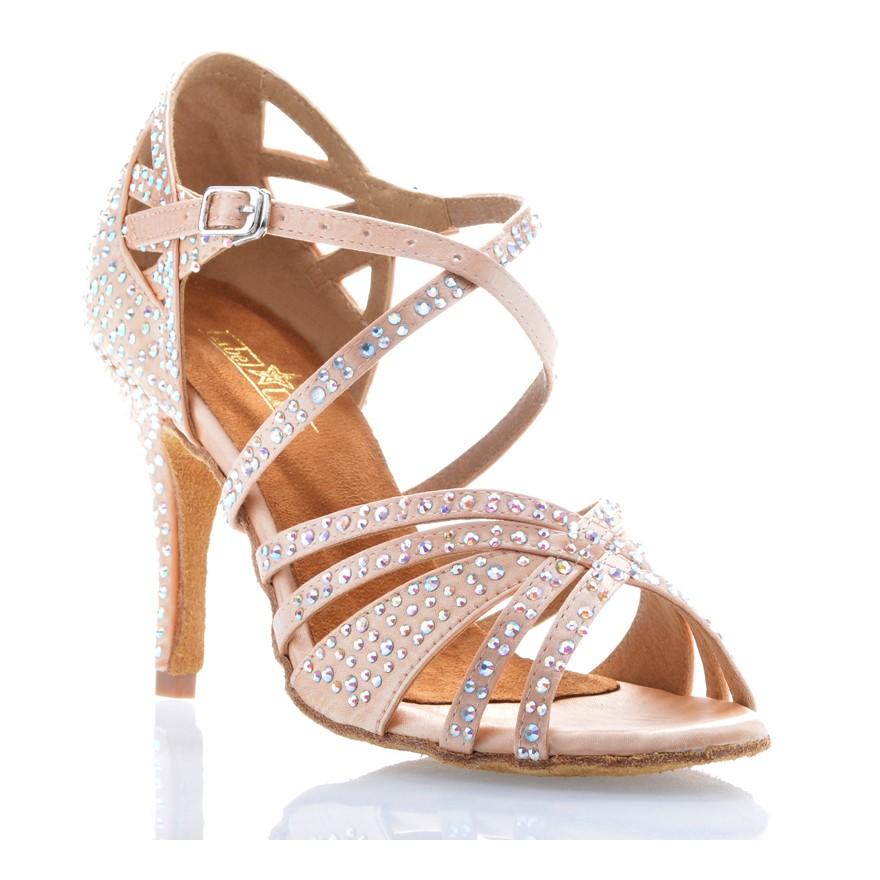 "Chaussures de danse salsa Label Latin ""Wanda"" Satin tan flesh et strass"