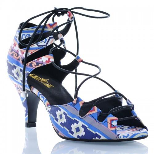 "Chaussures de danse Label Latin ""Xara"" simili cuir imprimé wax"