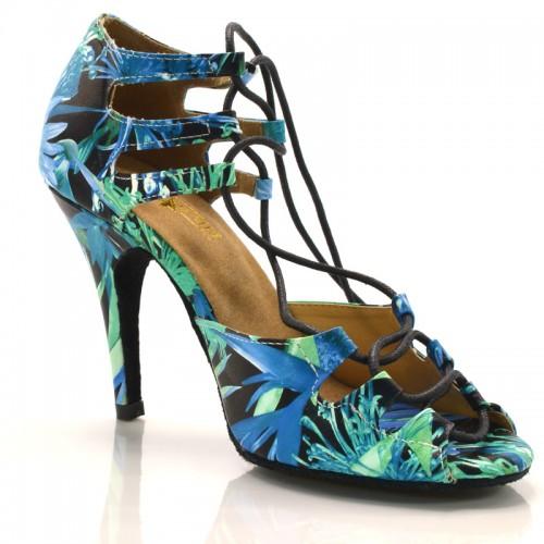 "Chaussures de danse Label Latin ""Xara"" simili cuir imprimé tropical"