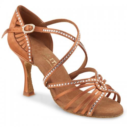 "Chaussures de danse Rummos Elite ""Luna"" satin tan et strass"