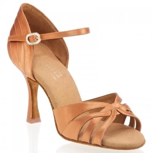 """Chaussures de danse Rummos """"Paris"""" satin tan foncé"""