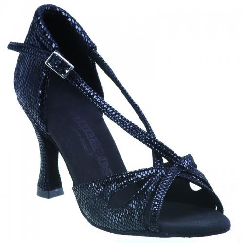 "Chaussures de danse Rummos ""Lana"" cuir noir imitation peau de serpent"