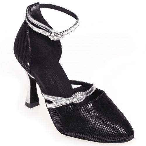 """Chaussures de danse Rummos """"Zita""""cuir noir imitation peau de lézard et cuir argent"""