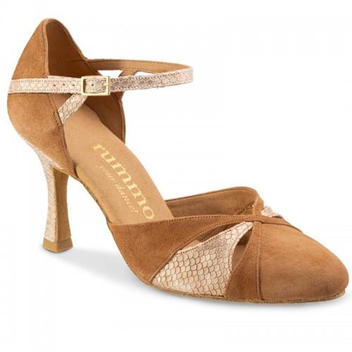 """Chaussures de danse Rummos """"Nora"""" daim marron camel et cuir beige imitation peau de serpent"""
