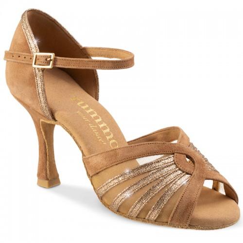 """Chaussures de danse Rummos """"Tatianna"""" Daim camel et glitter or"""