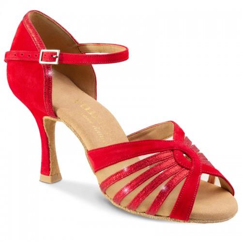 """Chaussures de danse Rummos """"Tatianna"""" daim et glitter rouge"""