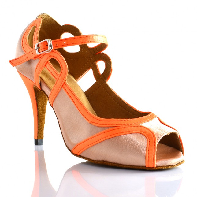 Chaussures de danse salsa Label Latin Laura beige et orange