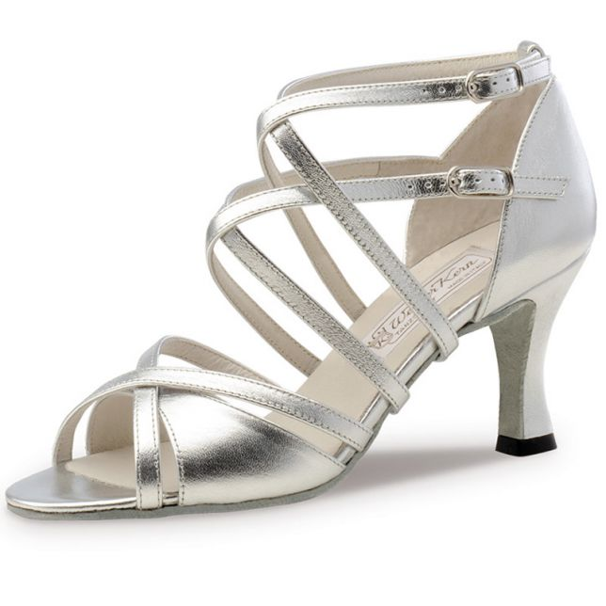 "Chaussures de danse Werner Kern ""Eva"" 6,5 cm cuir argent"