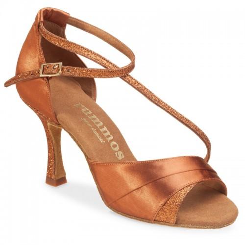 """Chaussures de danse Rummos """"Aniaa"""" satin tan foncé et glitter"""
