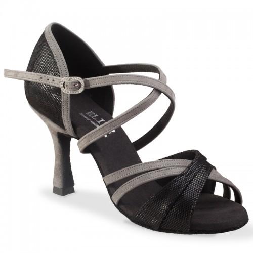 """Chaussures de danse Elite Rummos """"Athena"""" Cuir lézard noir et gris"""