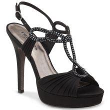 """Chaussures de danse Rummos """"Sophia"""" à plate forme satin noir et strass"""