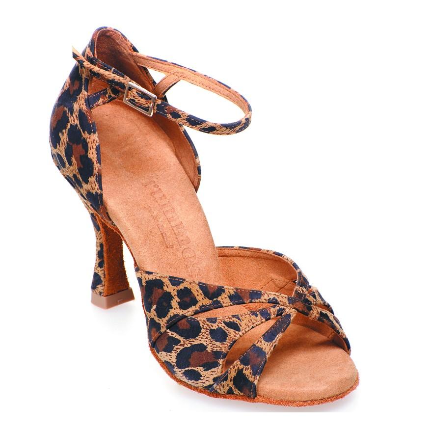 "Chaussures de danse Elite Rummos ""Cleopatra"" cuir lézard noir et léopard"